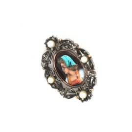 Occasion antieke broche met roosdiamant en parel