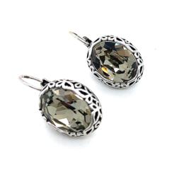 Occasion zilveren oorhangers met swarovski steen