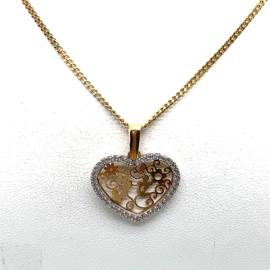 Geelgouden collier met een hart hanger