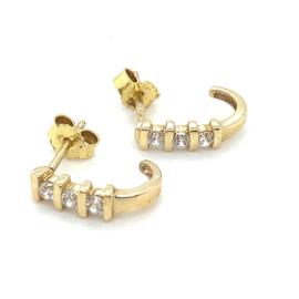 Occasion gouden oorstekers met zirkonia's