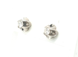 Occasion solitair oorknoppen diamant 0.20ct SI F