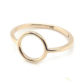 Occasion gouden ring met open cirkel