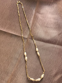 occasion 14 kt gouden ketting met wit zoetwaterparel