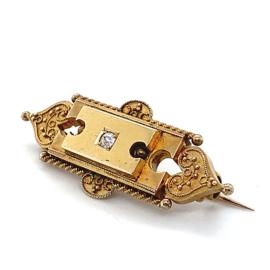 Occasion handgemaakte Art Deco broche met diamant