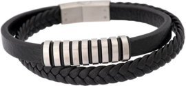 iXXXi Men Leather Bracelet Wyatt Zilverkleurig - maat 21,5
