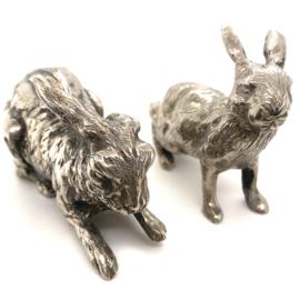 Occasion set van 2 zilveren konijnen gemaakt door Zilverfabriek Haarlem