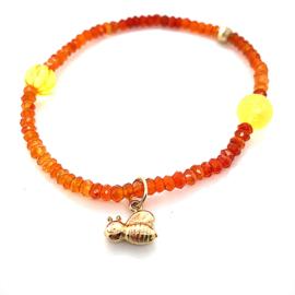 Cataleya armband met carneool, lemonkwarts en gouden bij