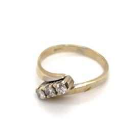 Occasion witgouden ring met 3 diamanten 0.30ct SI - H