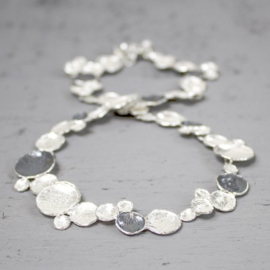 Jeh Jewels 18067 - Collier zilver oxy + wit