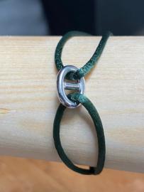 Zilver rho./ru/ny/le armbanden dames en heren poli/fantasie - groen
