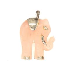 Occasion olifant hanger van rozenkwarts groot