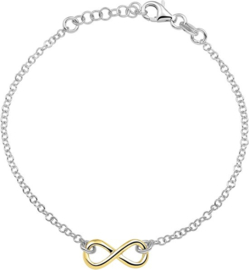 The Fashion Jewelry Collection Armband Infinity 2,0 mm 17 + 2 cm - Zilver verguld