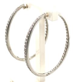 Occasion witgouden oorringen dubbel bezet met diamant circa 1ct VSI-F
