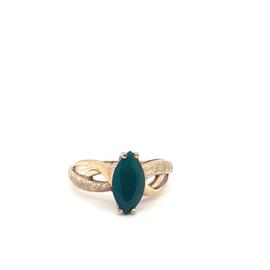 Vintage ring bwg 10 karaat groene steen