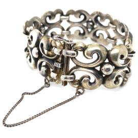 Occasion zilveren massieve handgemaakte schakelarmband