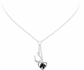 Lilly ketting - zilver - emaille - paard - hart - hoefijzer - 40 cm