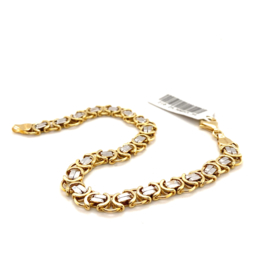 Bicolor gouden armband met platte koningsschakels 21cm