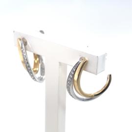Occasion bicolor gouden halve creool oorknoppen met diamantjes