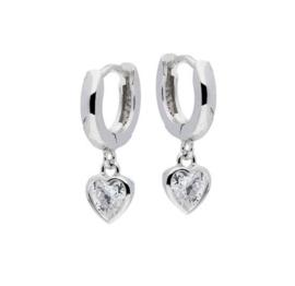 Lilly klapcreolen - hart - zilver