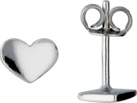 Lilly oorknopjes hart - zilver - gerodineerd - 5.7x6.8mm