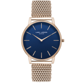 Lars Larsen: LW47 · mens watch · rose gold watch with blue dial - LL147RDRM