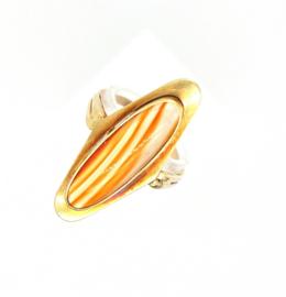 Occasion gouden ring met gestreepte agaat edelsteen