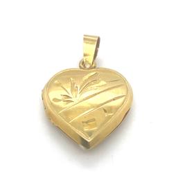 Occasion gouden hart medaillon met gravures