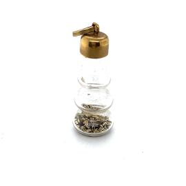 Occasion glazen flesje hanger met goud