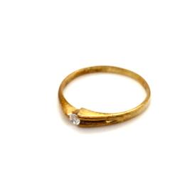 Occasion fijne gouden ring met diamant 0.05ct
