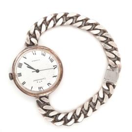 Occasion zilveren Commodoor horloge met schakelband