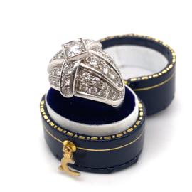 Occasion witgouden ring met pavé gezette diamanten ca 2.85ct VSI-G