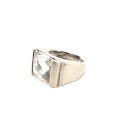 Occasion ring met grote rechthoekige witte zirkonia