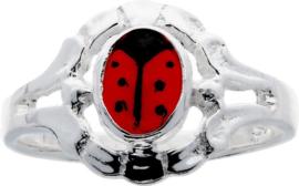 Lilly - Zilveren kinderring - lieveheersbeest - zilver - rood - mt 46