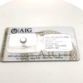 AIG  zwarte diamant - 1.94 ct - rond briljant