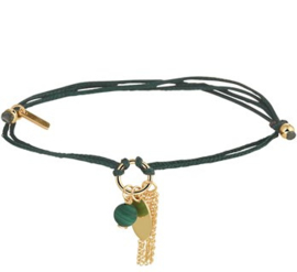 Armband katoen malachiet 13 - 19 cm
