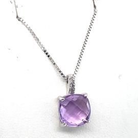 Occasion witgouden hanger met amethist en diamant 0.03ct