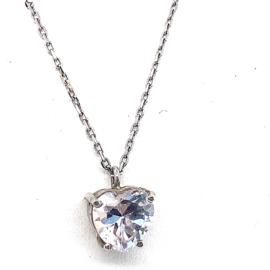 Occasion zilveren collier met hartvormige zirkonia