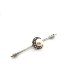 Occasion zilveren broche met witte parel