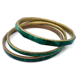 Occasion set van 3 malachiet armband ingelegd in messing