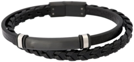 iXXXi Men Leather Bracelet Noah Zilverkleurig - maat 21,5