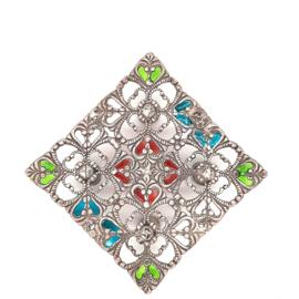 Occasion zilveren schaaltje met gekleurde details