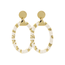 Amjoya TRIANGLE MIX&MATCH OVAL SNAKE WHITE/GOLD