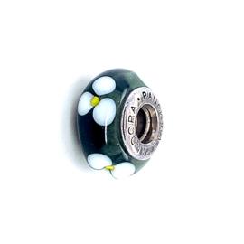 Occasion Pandora glas bedel groen / wit / geel