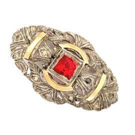 Occasion zilveren antieke broche met rode steen