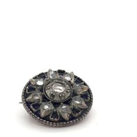 Occasion zilveren broche met emaille en roosdiamanten
