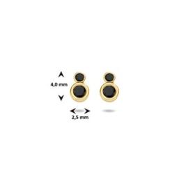 Oorknoppen geelgoud  zirkonia zwart