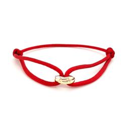 Armband satijn rood 3 rondjes