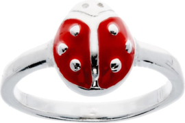 Lilly ring met lieveheersbeest - zilver - rood - mt 42