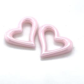Hart hangers voor creolen van roze keramiek