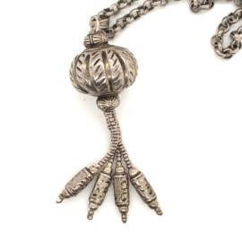 Occasion lang zilveren collier met fantasie hanger